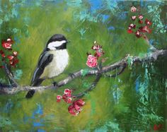 Bird on Flowered Branch, by Roz (Oil painting).