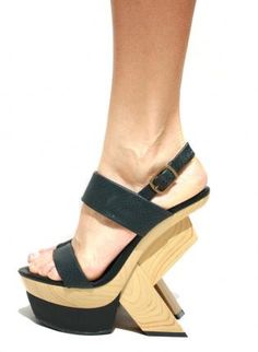 Open Toe Wooden Geometric Platform with Black Straps,  Shoes, geometric heel  wooden, Chic