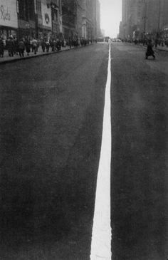 Pedestrian Crossing Center White Line on 34th Street, New York, 1948, by Robert Frank