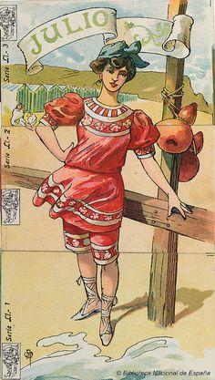 Mes de julio    Julio representado por una figura femenina en la playa    Autor: Mestres, Apeles (1854-1936)    Título: [Meses del año] [Material gráfico]    Publicación: [1880-1920]