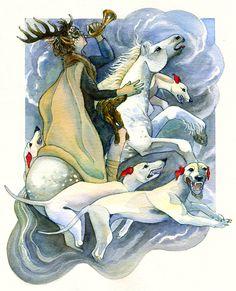 "Wild Hunt - Cŵn Annwn (Welsh: ""hounds of Annwn"") Anaconda, Herne The Hunter, Pagan Gods, Celtic Culture, Art Premier, Celtic Mythology, Book Of Kells, Anthropologie, Mermaids And Mermen"