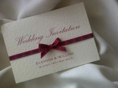 SCOTTISH TARTAN RIBBON WEDDING INVITATION