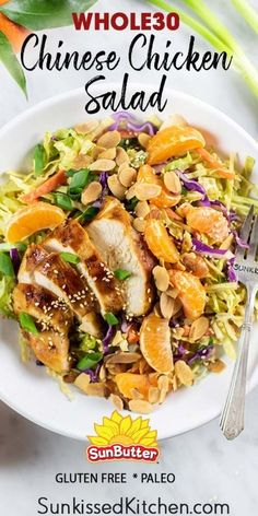Whole30 Chinese Chicken Salad / A tangy and sweet salad made with crunchy cabbage, carrots and almonds. A Whole30 Chicken Salad made with a creamy and tangy Sunbutter dressing. | SUNKISSEDKITCHEN.COM | @SunButter #SunButter #Whole30 #chicken #chickensalad Healthy Salad Recipes, Paleo Recipes, Cooking Recipes, Healthy Ground Chicken Recipes, Paleo Food, Easy Cooking, Paleo Diet, Carne Asada, Chinese Salad