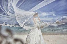 海邊 藍天 頭紗 比例
