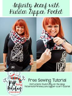 Free Hidden Pocket Infinity Scarf Tutorial - Patterns for Pirates Sewing Hacks, Sewing Tutorials, Sewing Tips, Sewing Ideas, Sewing Basics, Patterns For Pirates, Leftover Fabric, Pocket Pattern, Love Sewing