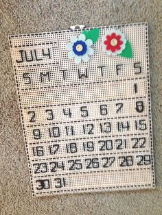 HANDMADE ~  NEEDLEPOINT PLASTIC CANVAS PERPETUAL CALENDAR ~ NEW ~ FINISHED ITEM