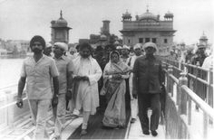 1984 :: PM Indira Gandhi visits Golden Temple After Operation Blue Star ! #history #historypics #images #pictures  Operation Blue Star was an Indian military operation which occurred between 3 June and 8 June 1984, ordered by Prime Minister Indira Gandhi in order to establish control over the Harmandir Sahib Complex in Amritsar, Punjab, and remove Jarnail Singh Bhindranwale and his armed followers from the complex buildings. Operation Blue Star, Harmandir Sahib, Indira Gandhi, Golden Temple, Military Operations, Rare Images, War Photography, Amritsar, Prime Minister