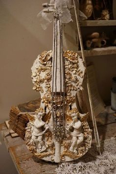 Check out Cherub embellished violin wall hanging art decor shabby cottage chic real fiddle w/ bow French Nordic white gold accents anita spero design on anitasperodesign