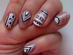 Glitter Tribal Nail by MaoraMix from Nail Art Gallery Tribal Nail Designs, Colorful Nail Designs, Gel Nail Designs, Beautiful Nail Designs, Stiletto Nail Art, Acrylic Nail Art, Gel Nail Art, Gel Nails, Nail Polish