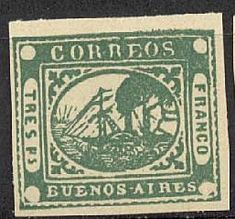 """La provincia de Buenos Aires estuvo separada del resto del país y emitió sus propias estampillas hasta 1860. La primera serie utilizada postalmente, los """"Barquitos"""" es sin duda la serie más cara. Este ejemplar, de 3p impreso en 1858 vale según catálogo $3.200 pesos."""