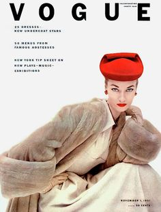 Retro Furcoats Vogue Cover - November 1951 - Red Hat, Fur Coat Regular Giclee Print - Vogue Cover Of Janet Randy by Clifford Coffin Vogue Vintage, Vintage Vogue Covers, Moda Vintage, Vintage Fur, Vintage Glamour, Vogue Magazine Covers, Fashion Magazine Cover, Fashion Cover, Estilo Pin Up