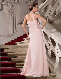 Formeller Abend/Ball/Militär Ball Kleid - Perlen Pink Chiffon - Etui-Linie - bodenlang - 1-Schulter/Herz-Ausschnitt Übergröße – USD $ 99.99