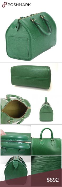 """Authentic Louis Vuitton Speedy 25 Borneo Green❣ Louis Vuitton Speedy 25 handbag classic crafted of Louis Vuitton textured epi leather - gold brass hardware include handle rings, studs and zipper closure that is made to last generations.  Clean inside and outside. Outstanding condition - Please check all photos. Shiny Lock, key, plus LV original dust bag included. Approx Dim: w:10.5"""" h:7.5"""" d:5.9"""" Gorgeous bag - well kept condition. Rarity! Made in France - Code: VI0921 Check the other…"""