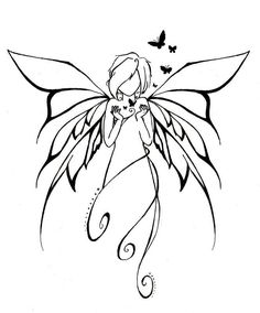 I like the wings - This would make a nice tattoo :) Tattoo Hada, Elfen Tattoo, Fairy Art, Colouring Pages, Fairy Coloring, Pyrography, Faeries, Doodle Art, Painted Rocks