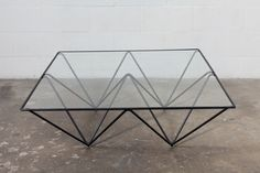 Coffee Table Black Wire Metal Frame with Clear Glass Top Italy
