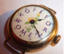 Antique Gold Plated SUFFRAGETTE ladies Wrist Watch. $40.00, via Etsy.