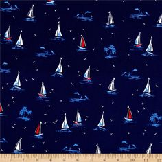 Michael Miller Yacht Club Sail On Navy Fabric Design, Pattern Design, Plaid Wallpaper, Nautical Prints, Conversational Prints, Michael Miller Fabric, Navy And White, Printing On Fabric, Digital Prints