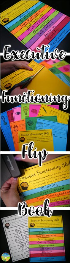 Make an executive functioning flip book to teach about organization planning attention working memory perseverance and more. School Social Work, Middle School Teachers, School Ot, Teaching Tools, Teaching Resources, Parent Resources, Working Memory, Einstein, Special Education Classroom