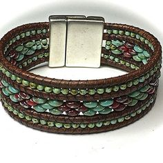 A beautiful mix of beads and leather! #unikasmycken #unique #armswag #armcandy…