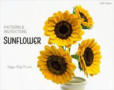 Crochet Sunflower Pattern - Crochet Flower Pattern for Flower Arrangements and Bouquets - Crochet Pattern for Sunflower flower