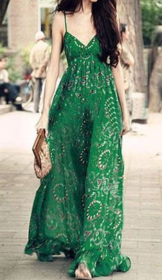Green Printed Maxi Dress Wholesale Boho Dress https://bohemian-gift-stores.com/collections/bohemian-dresses
