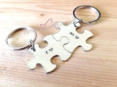 Couples Keychains Puzzle Piece Key Chain by customhemptreasures, $24.00