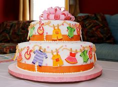 Clothesline cake for baby shower