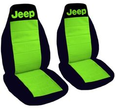 1997 Jeep Wrangler TJ seat covers. One front set of seat covers. Black and lime green Jeep seat covers:Amazon:Automotive