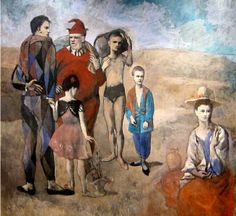 Pablo Picasso, Family of Saltimbanques, 1905, Rose Period  {{{ so probably the definitive painting of the rose period, which most often depicted circus performers not actually performing.  sometimes they practiced.  sometimes they sat around drinking.  But typically, as here, they travel through deserts in full harlequin regalia.  Strange juxtaposition. Go-Go art school learning }}}
