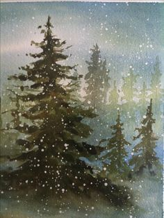 Image result for cardinal couple on snowy evergreen tree water color