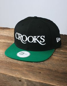 ee9c8d4a458 Crooks and Castles Serif Logo Snapback - Black Green. Jaded ♕ · Caps and  Accessories