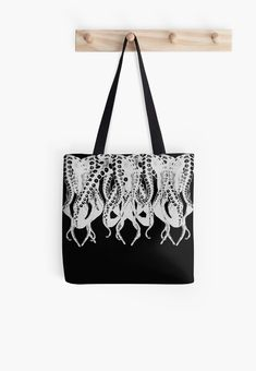 'Octopus, black and white tentacle monster Tote Bag by cool-shirts Large Bags, Small Bags, Samsung Galaxy Cases, Iphone Cases, Cotton Tote Bags, Drawstring Bags, Monster 2, Tentacle, Medium Bags