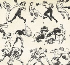 Vintage French boxe illustrations.