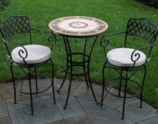 3 Pc. Alexandrite Bar Set- Hand-laid mosaic tiles grouted with industrial adhesives Tiles are made from all natural marble, slate, and travertine Wrought-iron frames are electrostatically coated with powder coat finish Powder coat paint is weather and rust resistant $1,323.00 on www.PatioProductions.com