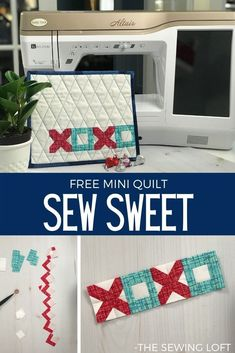Love how easy this Sew Sweet mini quilt pattern was to make. Free quilting pattern from The Sewing Loft. Small Quilts, Mini Quilts, Quilting Tutorials, Quilting Projects, Baby Lock Sewing Machine, Mini Quilt Patterns, Quilt Batting, Easy Sewing Projects, Sewing Basics