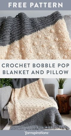 """Free Crochet Bobble Pop Blanket and Pillow pattern using Bernat Freesia yarn. Add visual interest to any space with the coordinating beauty of this cozy crochet throw and cushion. The main body of the throw is double crochet dotted with popcorn stitches, while the border features textured ridges that are created with reverse single crochet or """"crab stitch"""". #Yarnspirations #FreeCrochetPattern #CrochetThrow #CrochetBlanket #CrochetPillow #BernatYarn #BernatFreesia Crochet Pillow, Knit Or Crochet, Baby Blanket Crochet, Double Crochet, Free Crochet, Crochet Blankets, Afghan Crochet Patterns, Crochet Afghans, Reverse Single Crochet"""