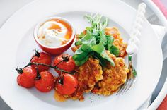 Perfect for Christmas leftovers...corn & han fritters with roasted cherry tomatoes