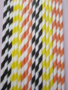 24 Orange Black Yellow  Vintage Retro Paper by DKDeleKtables
