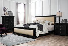 Sinclair Black California King Panel Bed