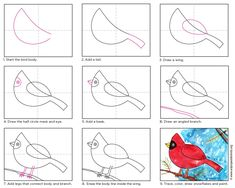 Draw a Cardinal · Art Projects for Kids Drawing Lessons For Kids, Art Drawings For Kids, January Art, December, Kindergarten Drawing, Christmas Art For Kids, Winter Drawings, First Grade Art, Winter Art Projects