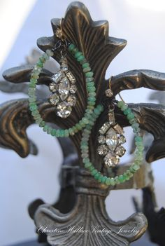 OceanWater Hoops--Vintage Assemblage Gemstone Sterling Art Deco Rhinestone Hoop EARRINGS