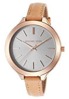 Michael Kors Rose Gold White Tan Stainless Stel with Leather Strap Designer  Fashion Ladies Watch off retail a1410b92fe