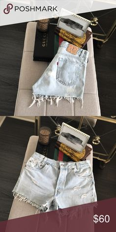 """Levi's Distressed Vintage Denim // Cutoff Shorts Levi's Vintage Denim // Jean Cutoff Shorts with Distressing from the closet of blogger Ali Stone of Those White Walls. No trades or modeling.  Such a cute wash in person! Perfect for Spring, Summer or Vacation! Photos show condition in full. High-waisted.   No size tag that I can find so please use measurements to determine best fit... Waist approx. 14.25"""" flat across. Rise approx. 11"""". Inseam approx. 2"""".  ❤️ this piece? Be sure to follow…"""