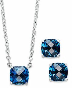 Sterling Silver Jewelry Set, London Blue Topaz Cushion-Cut Pendant and Earrings Set (7-1/2 ct. t.w.) - Gemstones - Jewelry & Watches - Macy's
