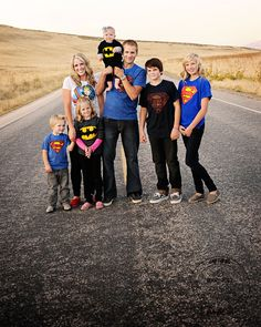 i'm doing this or our Christmas cards this year. superhero shirt