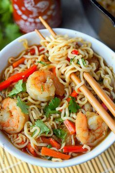 Spicy shrimp ramen bowl but use Miracle Noodles for a healthier version Seafood Recipes, Soup Recipes, Cooking Recipes, Ramen Noodle Recipes, Ramen Noodles, Easy Ramen Recipes, Rice Noodle Soups, Spicy Shrimp Recipes, Family Recipes