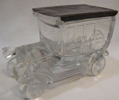 Vintage Clear Glass Hearse +Fringe Car Candy Container + Tin Slide ~ Long in Collectibles, Advertising, Food & Beverage, Candy & Nuts, Merchandise & Memorabilia Vintage Candy, Vintage Tins, Candied Nuts, Candy Containers, Glass Candy, Sliders, Clear Glass, Decorative Boxes, Car