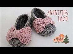 Zapatitos Lazo a crochet para bebés ( 0 a 3 meses) 7401e8304fb