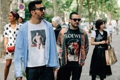 A look at the best street style from Men's Fashion Week in Paris, including relaxed pants, tucked-in T-shirts, and much more.