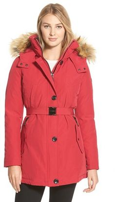 Vince Camuto Faux Fur Trim Belted Down & Feather Fill Parka